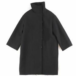 Hermes 17aw Stand Collar Long Coat Women And039s Black Tea 38 Wool Serie No.5964