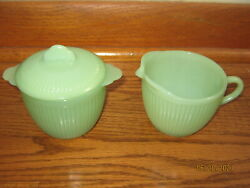Lot Of 2 Vintage Jadeite Fire King Oven Ware Ribbed Sugar Bowl And Creamer