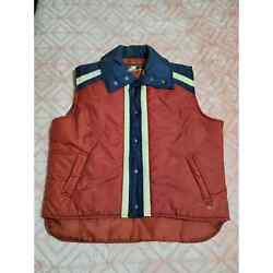 Vintage Avalanche Mens Puffer Vest Retro Large Red White Blue Insulated
