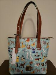 Disney Parks Dooney And Bourke 2017 Blue Disney Dogs Tote Purse New With Tags