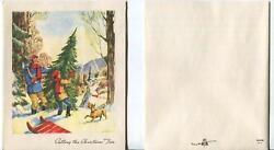 Vintage Victorian Christmas Sleigh Village Dog Tree Snow And 1 Pine Cones Art Card