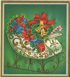 Vintage Christmas Embossed White Gold Victorian Sleigh Presents Greeting Card