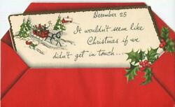 Vintage Christmas Red Victorian Sleigh Horse Victorian Family Snow Trees Card