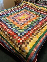 """Hand Pieced Hand Quilted 100"""" X 92"""" Quilt"""