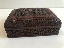 Antique Chinese Detail Hand Carved Red Cinnabar Lacquer Box, 5 1/2 X 4 X 2 H