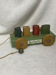 Vintage Holgate Wooden Wagon Pull Toy With Alphabet Blocks
