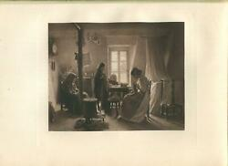 Antique Three Generations Grandmother Mother Daughter Sewing Stove Clock Print