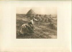 Antique Farm Women Thatched Cottage Garden Crops Wheat Sheaf Gleaners Print
