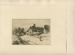 Antique Donnithorne Arms Inn English Landscape Geese Etching Engraving Art Print