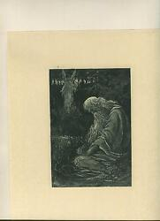 Antique Jubal Decsendant Of Cain Of Bible Angel Heaven Life Death Old Age Print