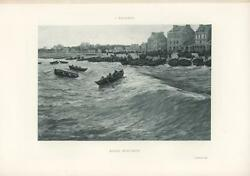 Antique Village On Ocean Shore Houses Boats Paddles Oars Rising Waves Tide Print