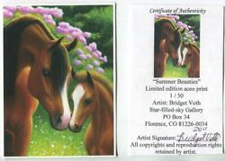 Aceo 1/50 L/e S/n Brown Chestnut Horse Mare Foal Love Pink Flowers Garden Print