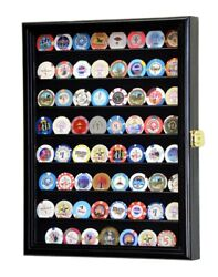 64 Casino Chip Coin Display Case Cabinet Chips Holder Wall Rack 98 Uv Lockable