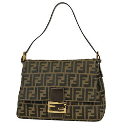 Pre-owned Fendi Zucca Logo Total Pattern Handbag Brown Canvas Leather F/s