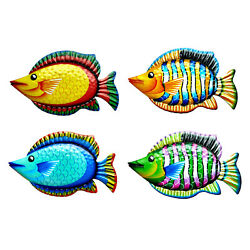 Hand Painted Multi Color Fish Replica Hanging Wall Decor Metal Art Sculpture