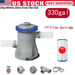 330 Gph Filter Pump For Above Ground Swimming Pools+filter Cartridge Us