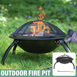 55cm Round Foldable Wood Burning Fire Pit Bowl Backyard With Cover Mesh Spark
