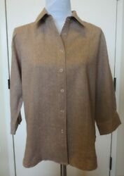 Coldwater Creek Tan Linen Blend 3/4 Sleeve Snap Closure Blouse Top Womenand039s Med