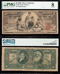 1896 2 Educational Silver Certificate Pmg 8 Free Shipping 16961644