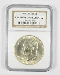 1974-s Eisenhower Silver Dollar Ngc Brilliant Uncirculated