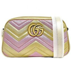 Pre-owned 447632 Gg Marmont Shoulder Bag Gold Pink Leather Free Shipping