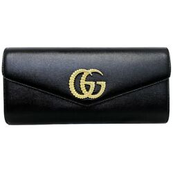 Pre-owned 594101 Broadway Gg Marmont Clutch Bag Black Coated Leather F/s