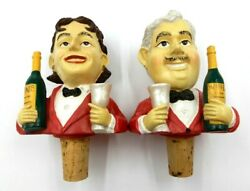 Vintage Set Of 2 Red Suit Man And Woman Butler Figurines Cork/wine Bottle Stopper