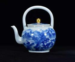 Chinese Blue And White Porcelain Handmade Exquisite Landscape Teapot 17039