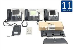 Lot Of 11 Cisco Cp-7961g 7965g 7975g W/ 7916 Expansion Ac Handset And Base
