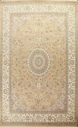 Floral Tebriz Hand-knotted Oriental Area Rug Vegetable Dye Wool Carpet 10and039x13and039