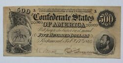 1864 Confederate Currency 500 Note Stonewall Jackson T-64 Tape Repair Reverse