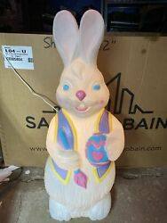 """Vintage Easter Bunny Blow Mold Light Works 34""""tall"""