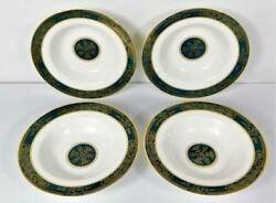 4 Royal Doulton Carlyle Teal Fine China England Rimmed Soup Bowls 9