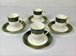 4 Royal Doulton Carlyle Teal Fine China England Demitasse Cups And Saucers