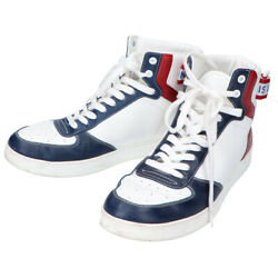Pre-owned Authentic Louis Vuitton Menand039s Sneakers Leather 6 1/2 White/blue/red