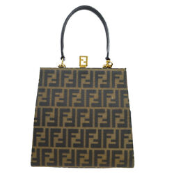 Fendi Zucca Pattern 2way Hand Bag Brown Canvas Leather Vintage A46666e