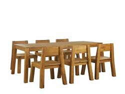 7 Piece Outdoor Dining Set Solid Acacia Wood Table Chairs Light Wood Livorno