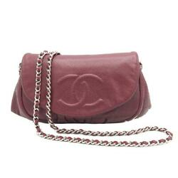 Chain Wallet Shoulder Bag Red System Caviar Skin Rank Previously No.8838