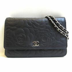 Bag Camellia Lambskin Chain Wallet A47421 Flower Silver Fittings No.9102