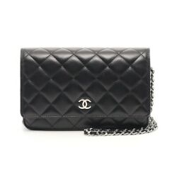 Matelasse Chain Wallet Lambskin Black Silver Fittings Previously No.9151