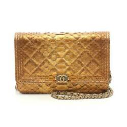 Boy Chain Wallet Python Gold Antique Fittings Previously Owned No.9107