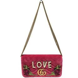 488426 Gg Marmont Chain Shoulder Bag Pink Compact Women 's No.9071