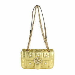 Gg Marmont Shoulder Bag 446744 Razor Gold Quilting Pearl Chain No.9173