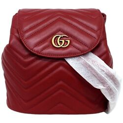 Backpack Red Gold Marmont 528129 Flap Magnet Razor Gg Quilting No.9089