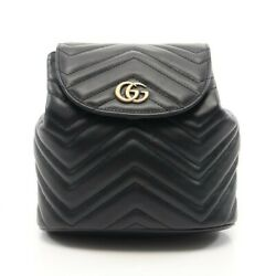 Gg Marmont Backpack Razor Black Quilting 528129 Previously Owned No.9153