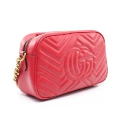 Gg Marmont Chain Shoulder Bag Razor Red 447632 Previously Owned No.9159