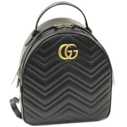 Gg Marmont Calf Black 476671 Backpack From Japan Fedex No.9155