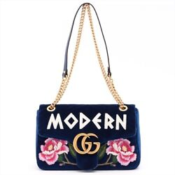 Gg Marmont Velvet Chain Shoulder Bag Navy 443496 Previously Owned No.588