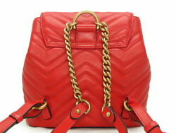 Gg Marmont Quilted Leather Chevron Backpack Red Razor 528129 No.586