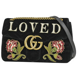 Gg Marmont Chain Shoulder Bag Double Shawl Flower Loved No.826